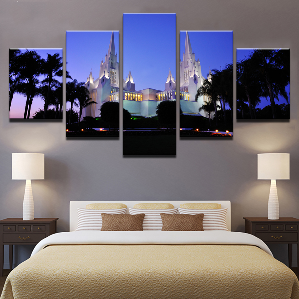 5 Panels San Diego California Temple Picture Canvas