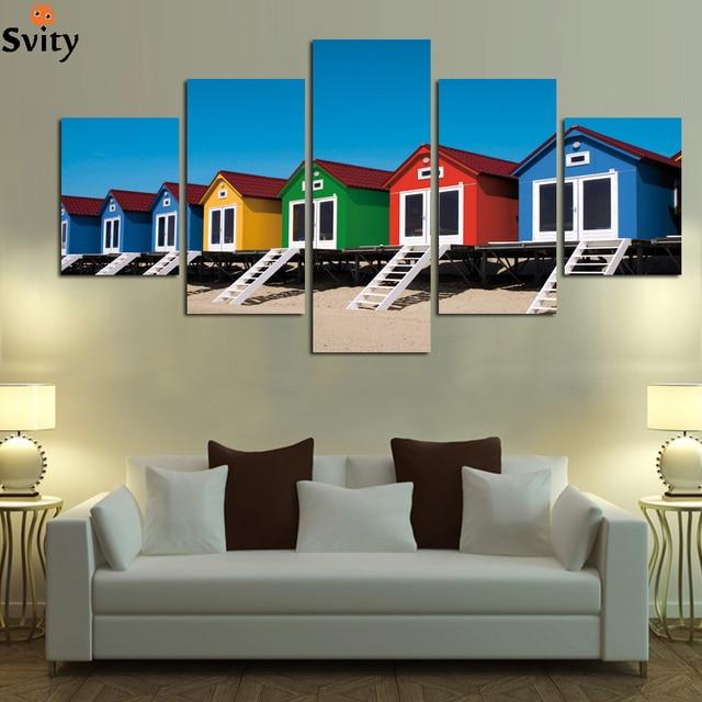 kleurrijke cartoon huis landschap schilderij canvas voor kind kamer slaapkamer restaurant home decor foto unframed