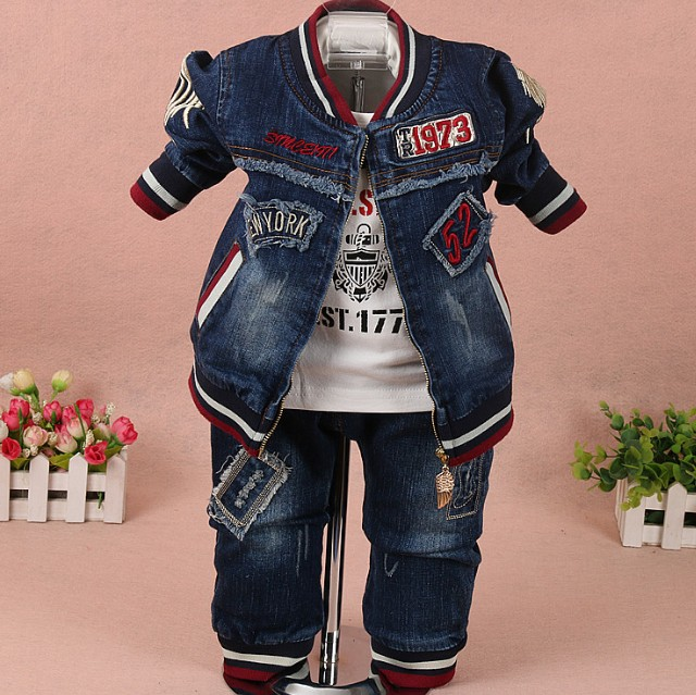 new 2017 spring boys digit letter denim jacket+t shirt+pant clothing sets 3pcs kids clothes sets boys casual suit boys jeans
