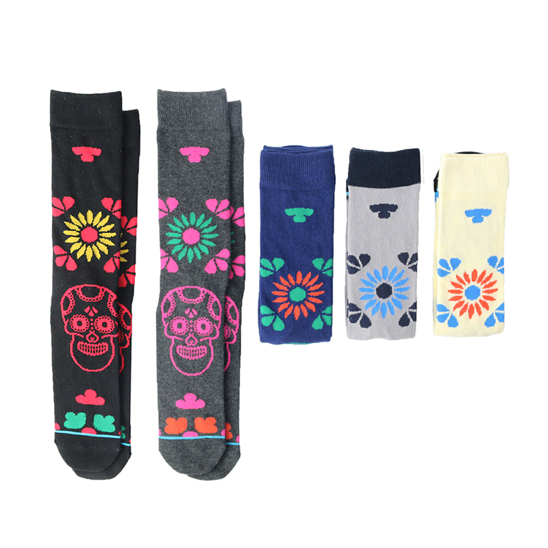 Image 2 - 5 Pair/Lot Cotton Men Socks Quality Spring Fall Brand Business Compression Coolmax Pattern Dress Happy Male Crew Socks Plus Size-in Men's Socks from Underwear & Sleepwears