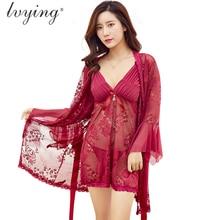 Women Pajama Sets Roses Butterflies Jacquard Nightgown Suits Sexy Lace Night Dress Lingerie Female Robe Sleepwear Nightwear