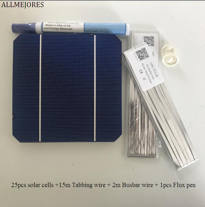 ALLMEJORES 25pcs 5x5 Monocrystalline solar cell 2.9W/pcs A Grade for DIY 70W solar panel charger + Enough Tabbing wire +Flux pen