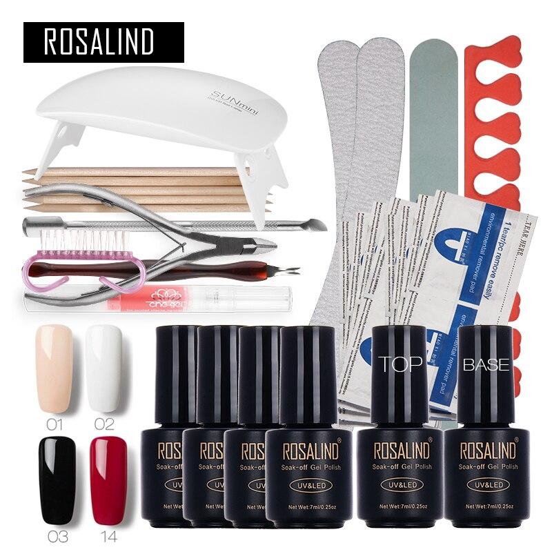 ROSALIND Nail Art Outils Ensemble Guérir 6 W Lampe UV Gel Polish Soak Off Base Coat Top Coat Gel Nail Manucure Kits gel laque