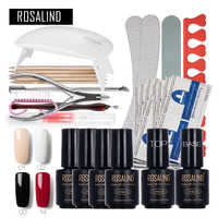 ROSALIND Nail Art Tools Set Cure 6W UV Lamp Gel Polish Soak Off Base Coat Top Coat Gel Nail Manicure Kits gel lacquer