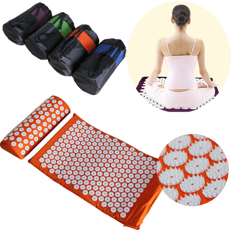 ФОТО Massager cushion Yoga Mat and Pillow two in One set Acupressure Mat Relieve Stress Body Head Back Foot Massage Cushion