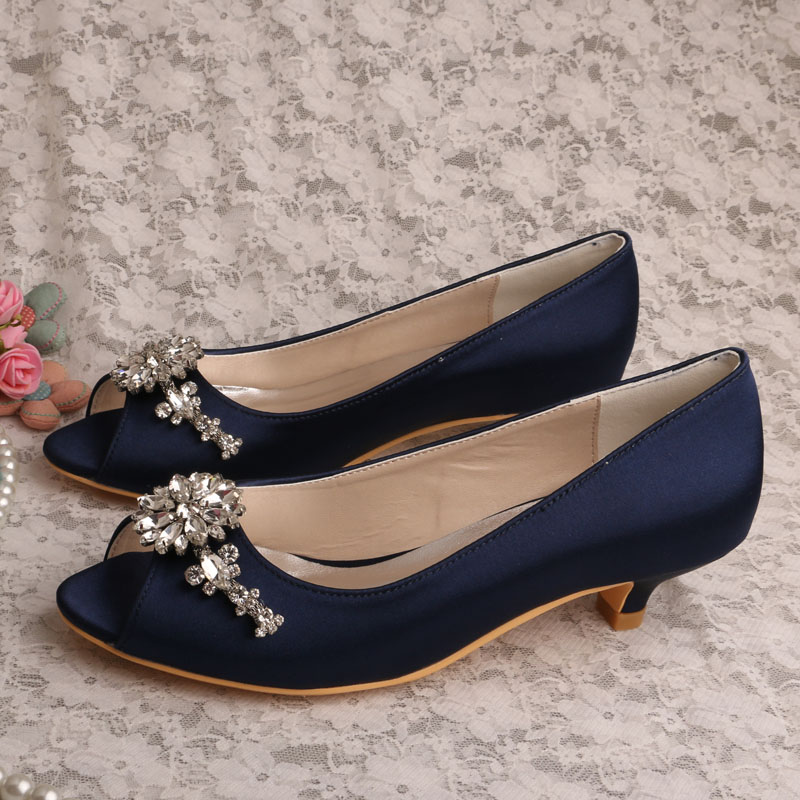 (21 Colors) Wedopus Low Heel Peep toe Navy Blue Satin Bridal Prom Shoes Pumps Plus Size 42 20 colors wedopus custom handmade large size bow bridal shoes ivory low heel peep toe