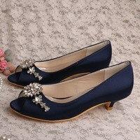 Free Drop Shipping Low Heel Peep Toe White Satin Bridal Shoes Pumps Plus Size 42