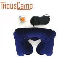 Outdoor new portable inflatable neck air cushion U-neck travel pillow nylon goggles anti-noise earplugs a set