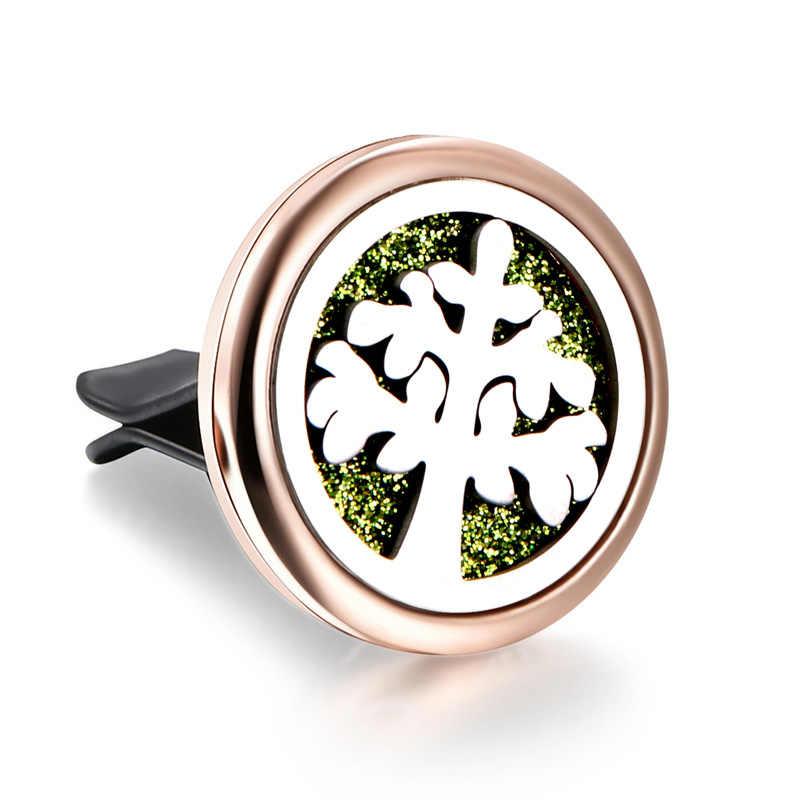 Rose Gold Tree of Life สแตนเลสที่ถอดออกได้ Car Essential Oil Diffuser สร้อยคอน้ำหอม Diffusion Spread Fresh Air Locket