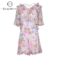 SEQINYY Pink Playsuits 2019 Summer New Fashion Design Short Sleeve Ruffles Flowers Printed Short Jumpsuit Sweet Women