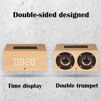 Retro Wecker Radio | Subwoofer Smart Radio Wecker Mit Funktion Retro Holz Uhr Mit TF Karte Tragbare Drahtlose Bluetooth Spalte