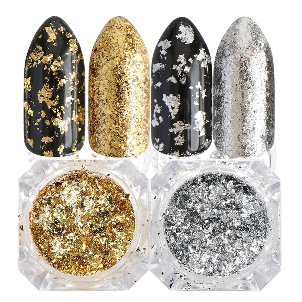 1 Box Silver Gold Flakes Laser Nail Glitter Mirror Powder Irregular DIY Aluminum Sequins For Nail Tips Nail Art Decorations TRCB