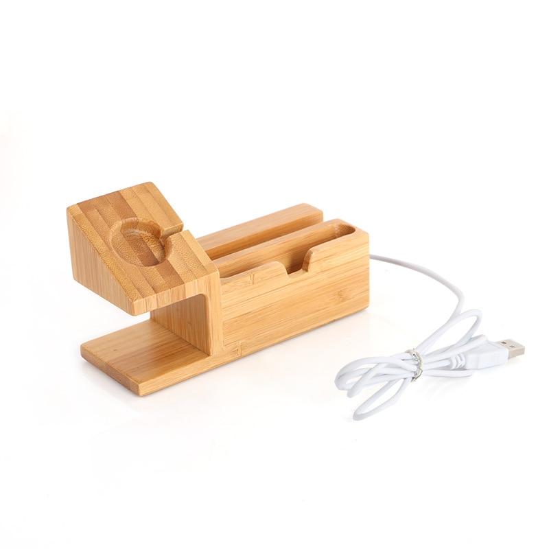 imágenes para De bambú genuino de carga dock para el iphone 7 6 s 6 5S 5 estación de carga de escritorio del sostenedor del soporte para apple watch con 3 usb puertos