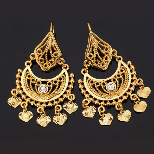 U7 Ethnic Earrings Indian Jewelry Clic Dangle Party Gift Silver Gold Color Rhinestone Tels Drop For Women E3030