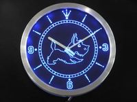 nc0376 Old Fashioned Scottie Dog Shop Neon Light Signs LED Wall Clock
