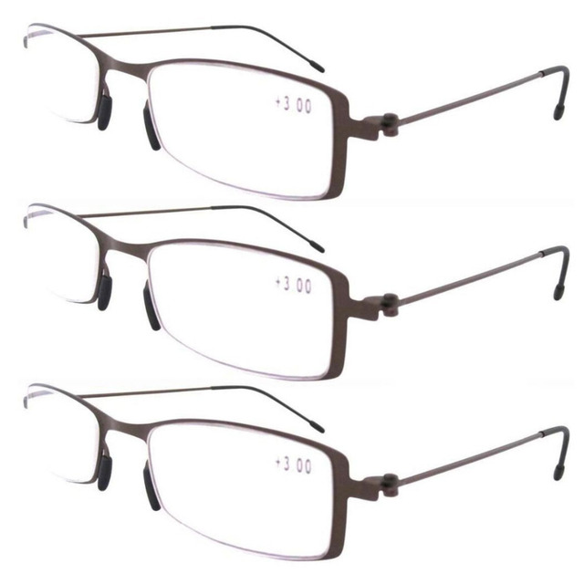a7eab328953b R12005 Eyekepper Brown 3-Pack Stainless Steel Frame Unique Lightweight  Reading Glasses+1  1.25 1.5 1.75 2 2.25 2.5 2.75 3 3.5 4