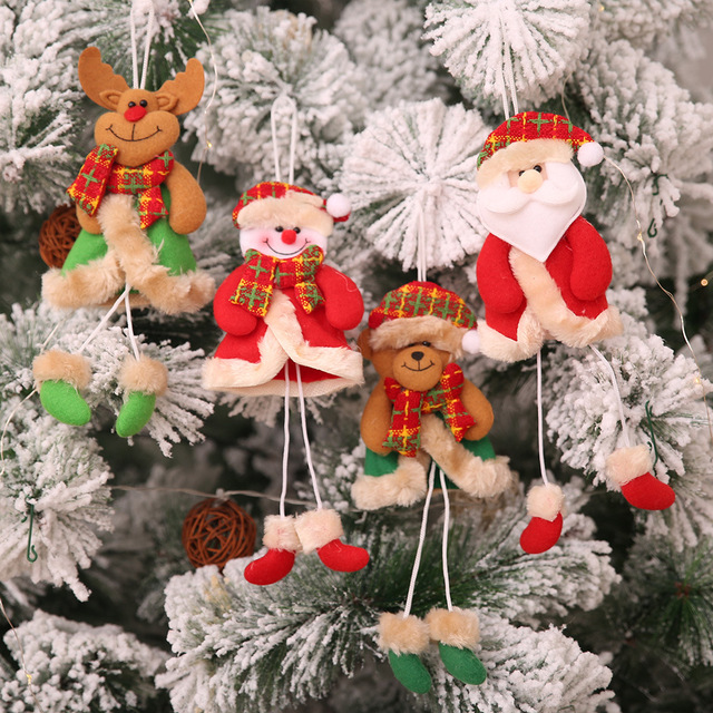 cute christmas decoration home decor santa claus snowman elk bear christmas tree hanging ornaments new year - Bear Christmas Decorations