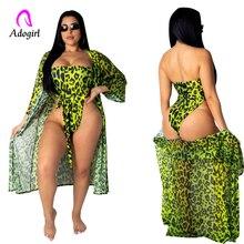 Chiffon Strapless Bodysuit Summer Women Beachwear Leopard 2 Piece Set Swimwear Female Cover Up Bathing Suit Cloak + Bodysuit цена 2017
