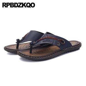 4a263b970 RPBDZKQO Flip Flop Shoes Slippers Black Leather Summer