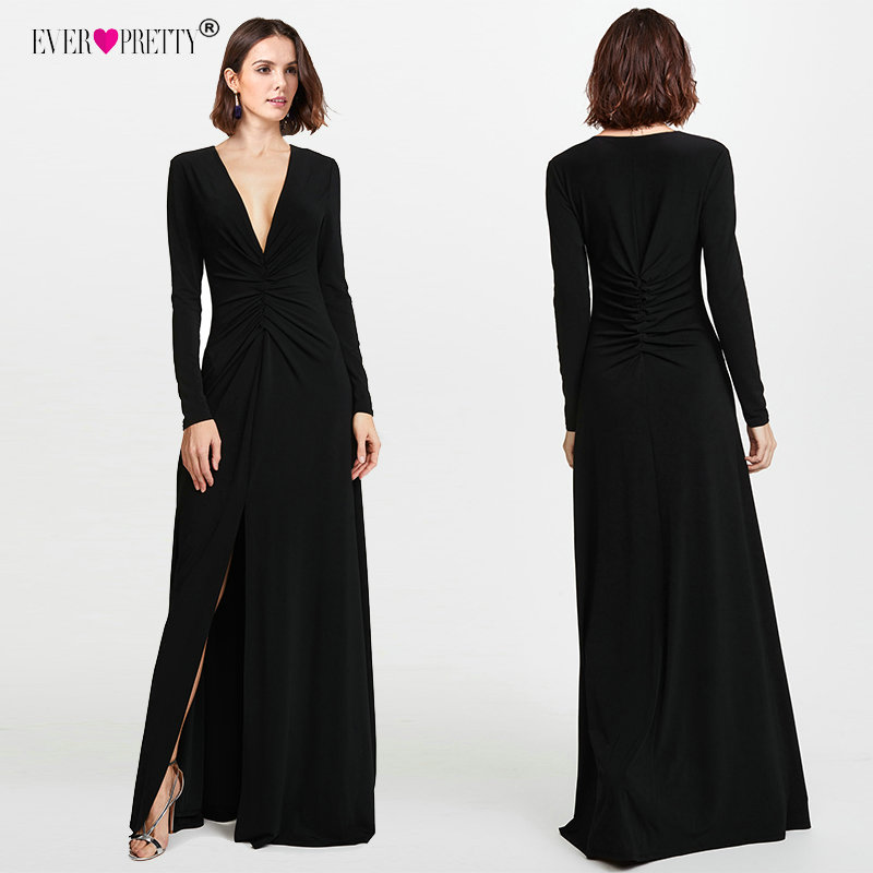Long Sleeve Black   Prom     Dresses   2018 Elegant Winter Autumn V-neck Leg Slit Special Occasion   Dresses   Sexy Plus Size   Prom     Dresses