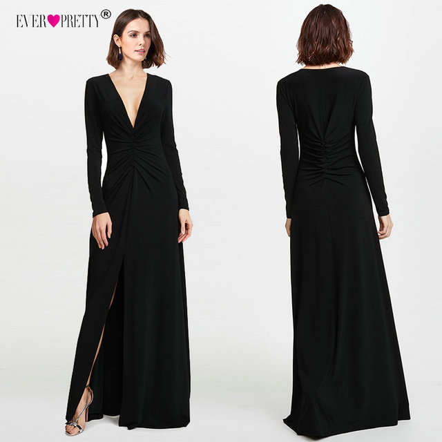 c8995fbed2 Vestidos de graduación negros de manga larga 2018 elegantes de invierno  otoño con escote en V