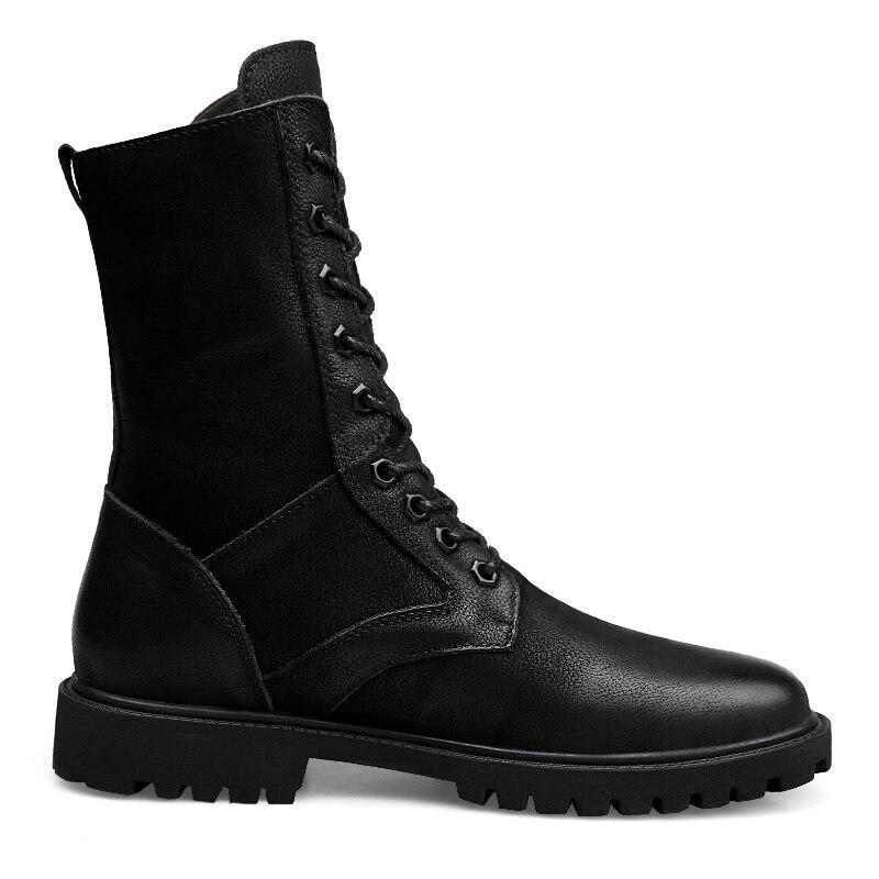 Superior De Militar Caliente Hombres Black Moda Más Invierno Lx5 Zapatos Botas Nuevo Alta Inglaterra Terciopelo Los Retro Martin Algodón qwgI6av