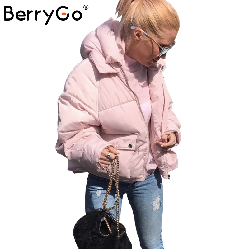 BerryGo Winter casual pocket hooded loose coat   parka   Women zipper padded streetwear   parkas   2017 warm pink   parka   overcoat female