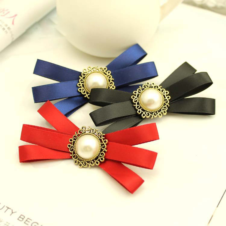 i-Remiel Bowknot Bowties Brooch Flower Korean Hand-made Bow Tie Accessories Pins And Brooches Kawaii Suit Blouse Pin For Women