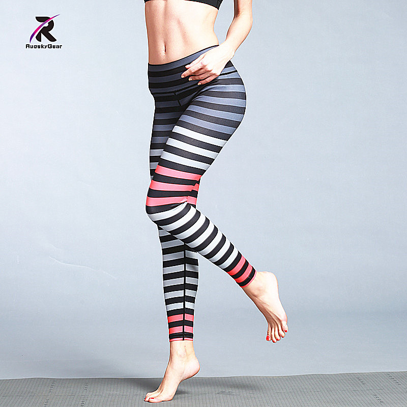 RuoskyGear Yoga Pants Stripe Print High Waist Compression Wide Waistband Quick Dry Striped Workout New Yoga Leggings Fitness