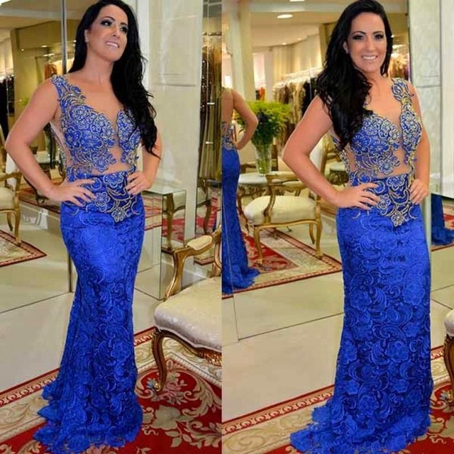 2017 Royal Blue Lace Mermaid Long   Evening     dresses   Plus Size Sleeveless O-Neck Appliques Prom Gown Party   Dress   Vestido de noche