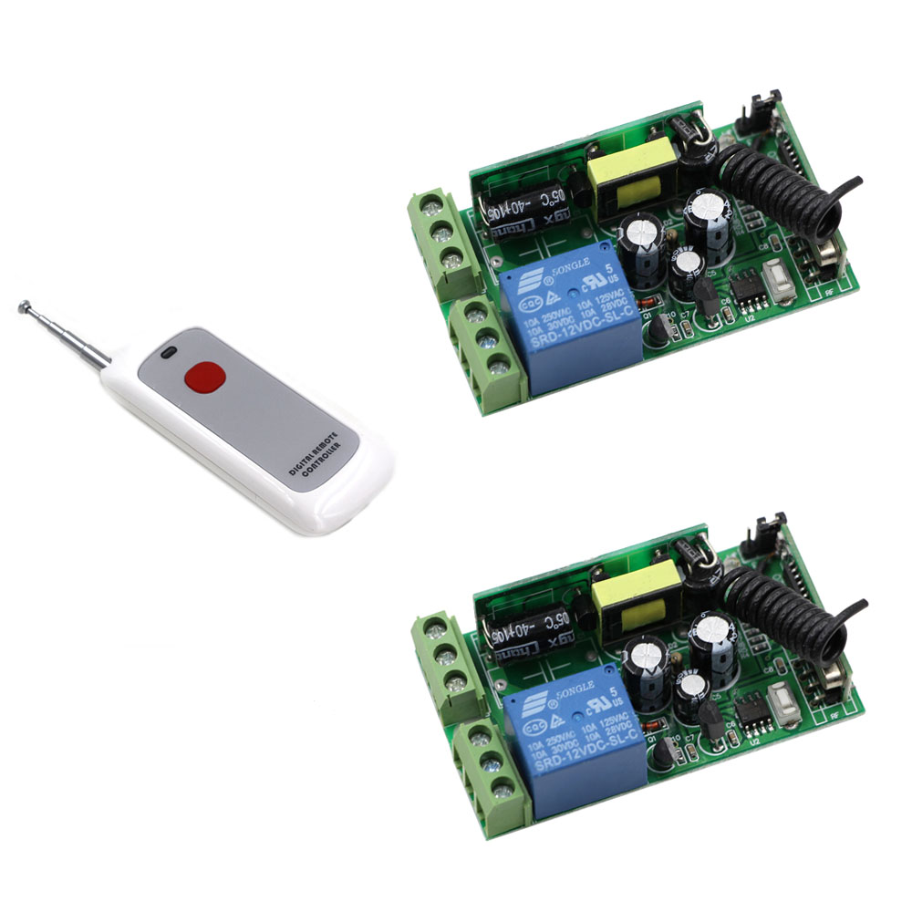 New AC85V 110V 220V 250V RF 1Channel Wireless Remote Control Switch Receivers Board with Digital Remote Controller Learning Code