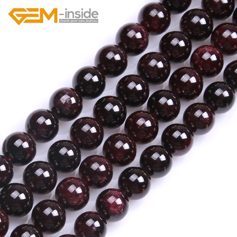 Los granos redondos del granate rojo oscuro de la piedra natural del - Bisutería - foto 6