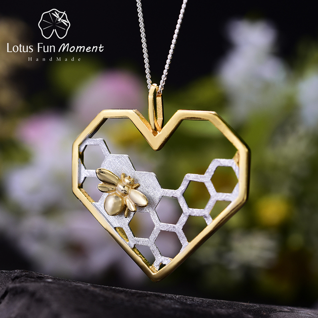 Lotus Fun Moment Real 925 Sterling Silver Fashion Jewelry Honeycomb Home Guard Love Heart Shape Pendant without Chain for Women