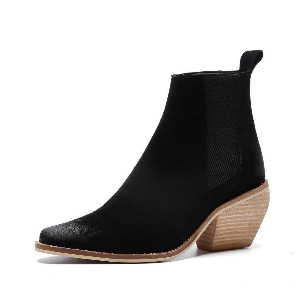 Hakiki Deri yarım çizmeler kadınlar için Yüksek topuk çizmeler Seksi Sivri Burun 2018 Kış moda ayakkabılar kadın botas mujer botte femme