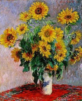 Claude Monet reproduction Bouquet of Sunflowers vase of yellow flowers Wall Art For Home Kitchen Dinning Room Deocr