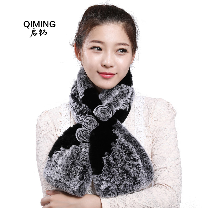 ThreeFlowers Rabbit Fur Scarves & Shawls Elegant Women Winter New for Female Flower Fur Cute Female Scarf Real Rabbit Fur RexL56