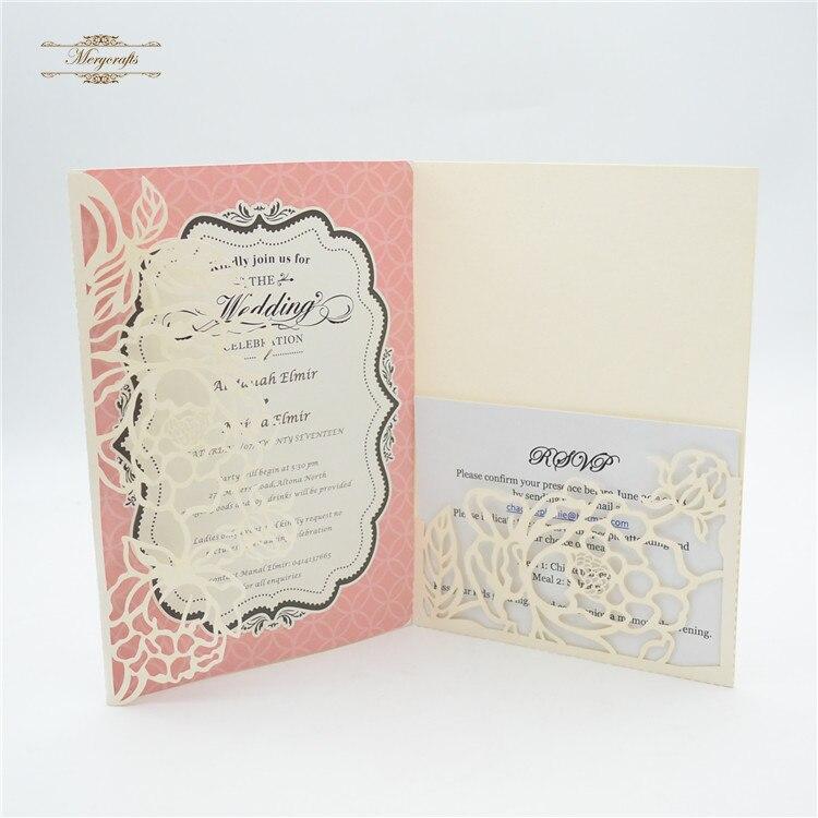 Luxury Pocketfold Wedding Invitations: Nice Luxury Tri Fold Wedding Card Design Laser Cut Floral