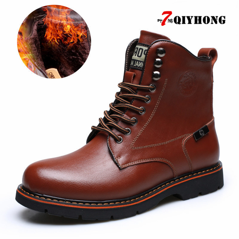 все цены на QIYHONG High Quality Men Boots Winter Snow Warm Casual Shoes Men Boots Genuine Leather Plush Fur Fashion Martin boots Size 38-44 в интернете