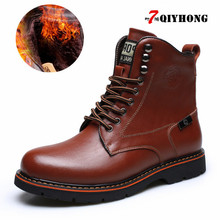 QIYHONG High Quality Men Boots Winter Snow Warm Casual Shoes Genuine Leather Plush Fur Fashion boots Size 38-44