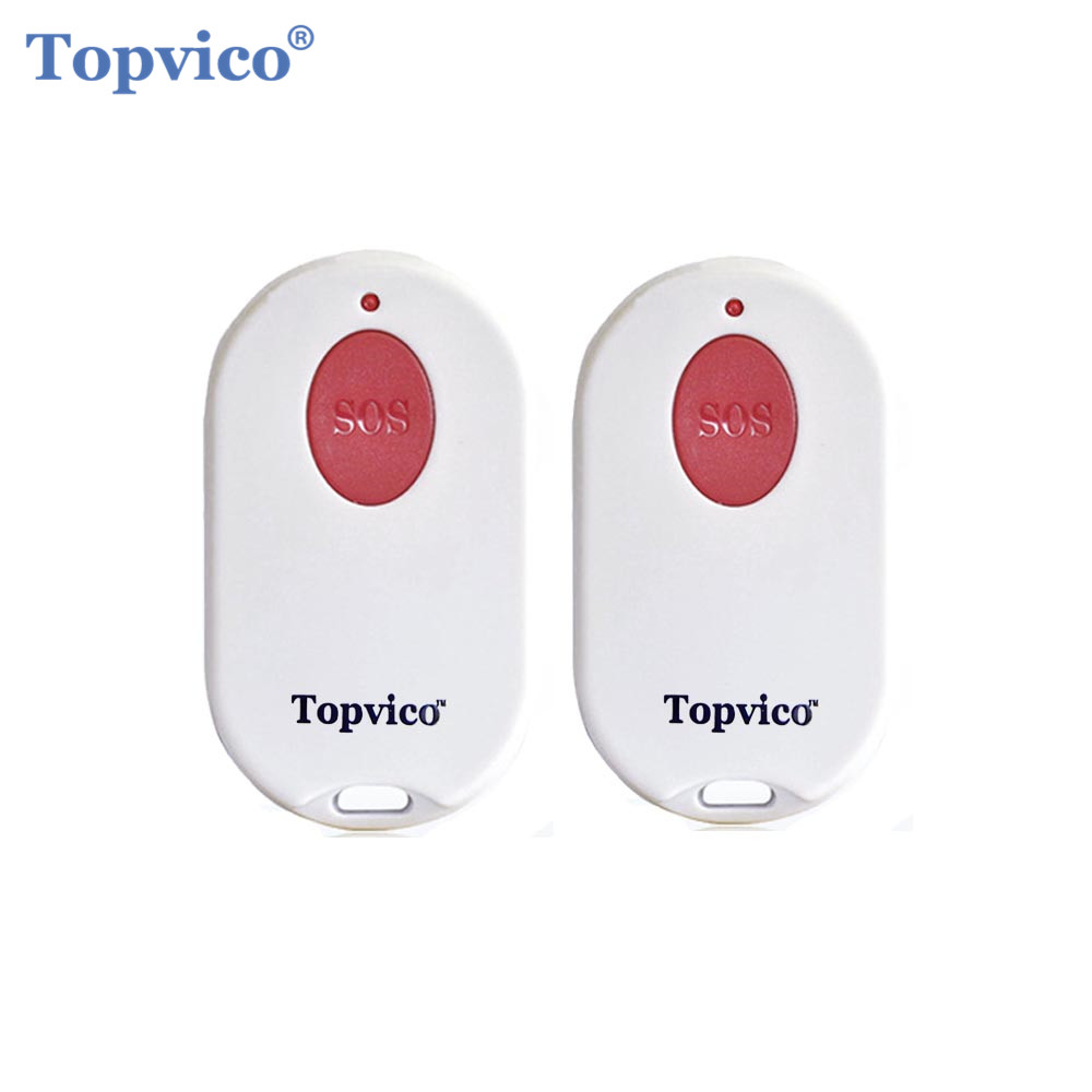 Topvico 2pcs SOS Panic Button RF 433mhz Emergency Button Elderly Alarm Keychain Controller Old People GSM WIFI Home Alarm System