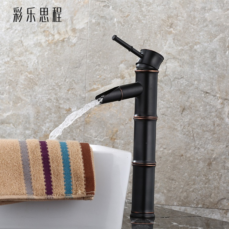 European All-copper Black Ancient Taps Hot And Cold Washbasin American Black Single-hole Basin Antique Bathroom Faucet Ki-8 american black three hole retro basin faucet european style washbasin bathroom hot and cold split bathtub faucet lu41316