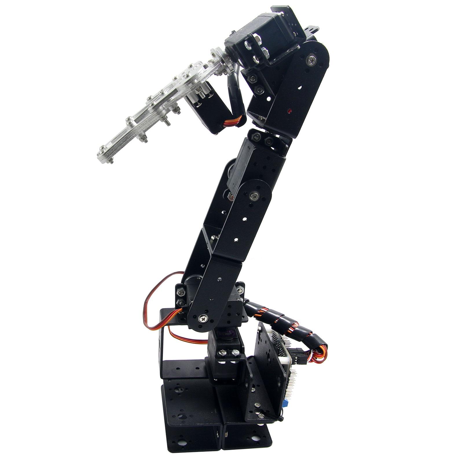 Robot 6 DOF Aluminium Mechanical Robotic Arm Clamp Claw Mount kit & 6pcs Servos & Metal Servo Horn for Arduino