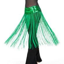 12 Cores Barato Roupas de Dança Do Ventre Acessórios Elástico Cintos de Lantejoulas Longa Borla Franja Mulheres Dança Do Ventre Lenço de Quadril Elástico
