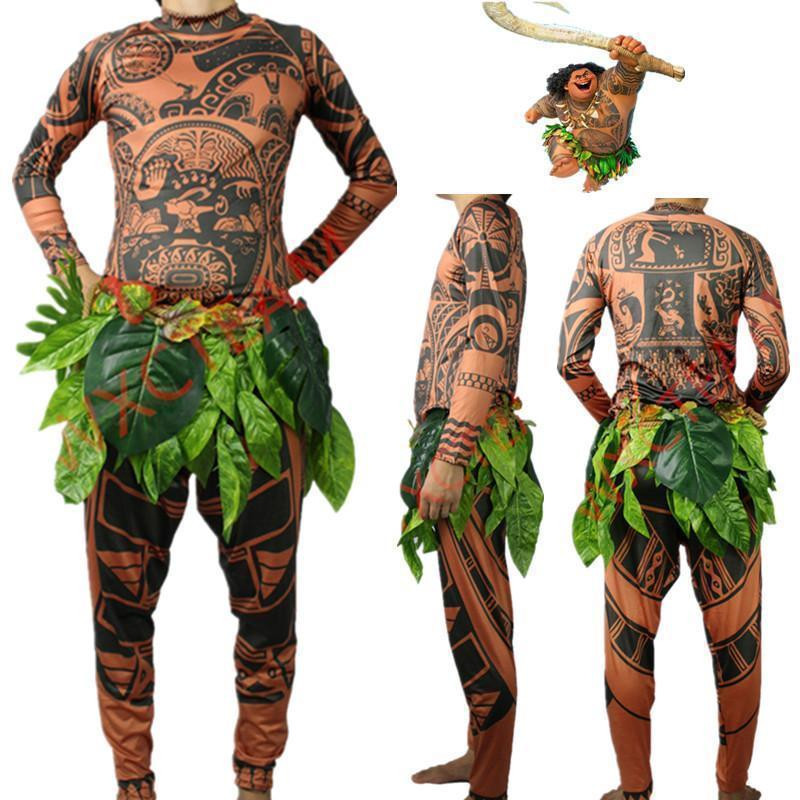 Moana Maui Tattoo T Shirt+Pants Halloween Adult Men Women Cosplay Costumes With Leaves Decor Blattern 3Pcs Halloween Kid Cosplay