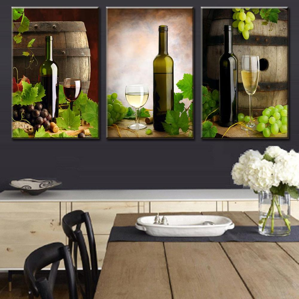 Wine decor dining room - 3 Piece Set Modern Wall Art Canvas Printed Painting Wine And Wine Barrels For Dining Room Wall Art Picture Frameless