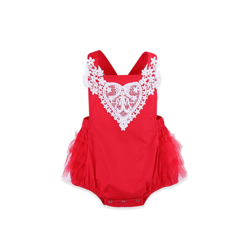2018 Summer Newborn Bodysuits Sleeveless Carters Baby Girl Red Color Lace Jumpsuit Dress Baby Bodysuits
