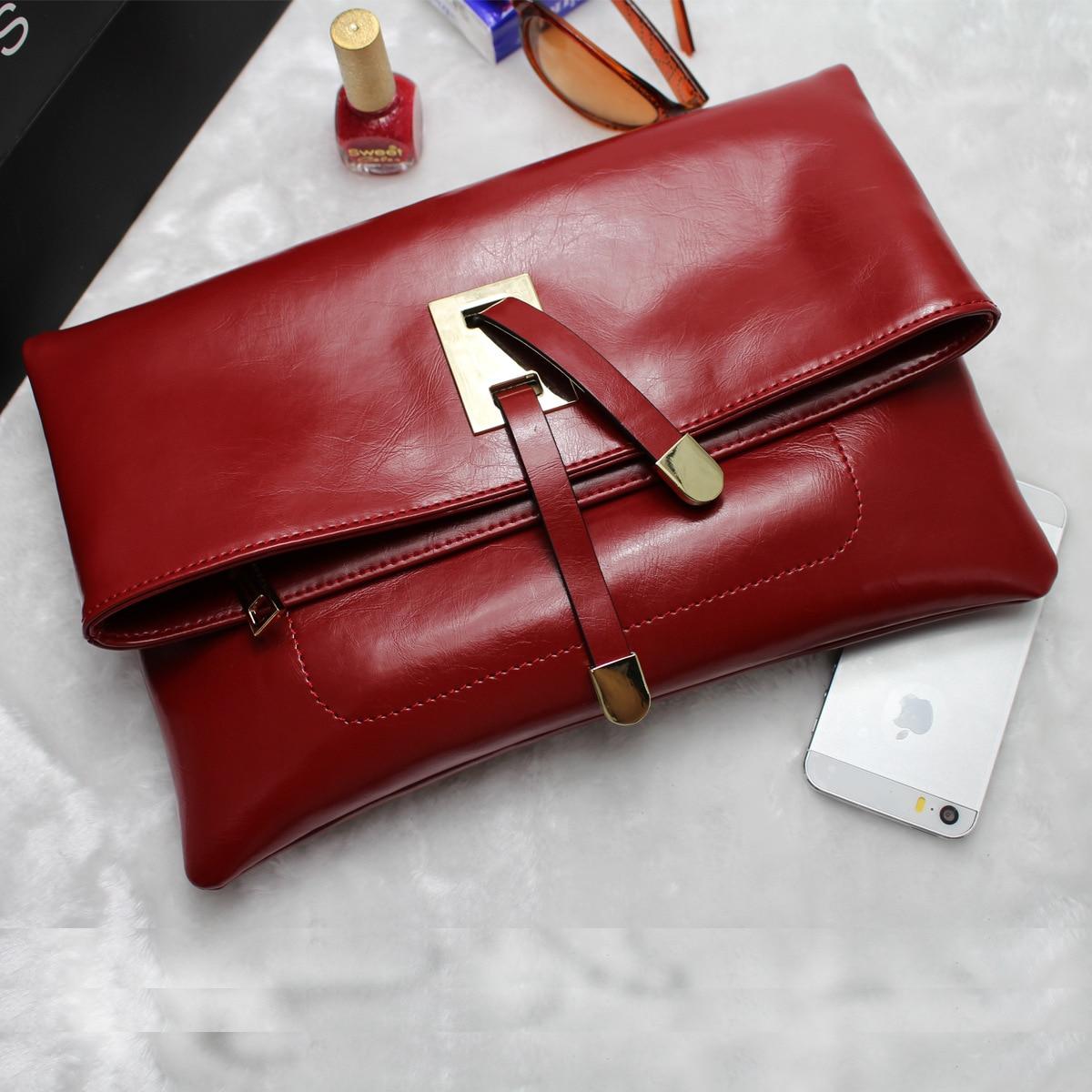 2017 New Famous Brand Oil Wax Genuine Leather Ladies Vintage Evening Bag Girl Day Clutch Hand Bag Women Shoulders Messenger Bag