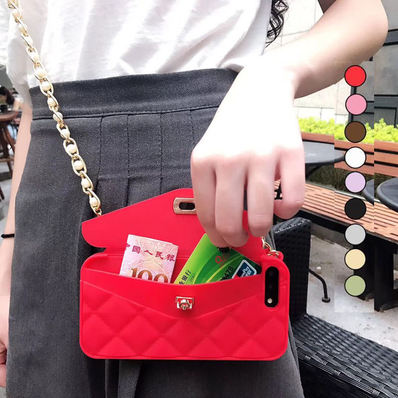 New Fashion Soft Silicone Card Bag Metal Clasp Women Handbag Purse Phone Case  Cover For Iphone x 8 7 6 6S Plus 7plus XS max XR 474900029b8c