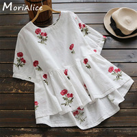 Summer Casual Sweet Shirt Women S Short Sleeved Round Neck Floral Embroidered Cotton And Linen Female