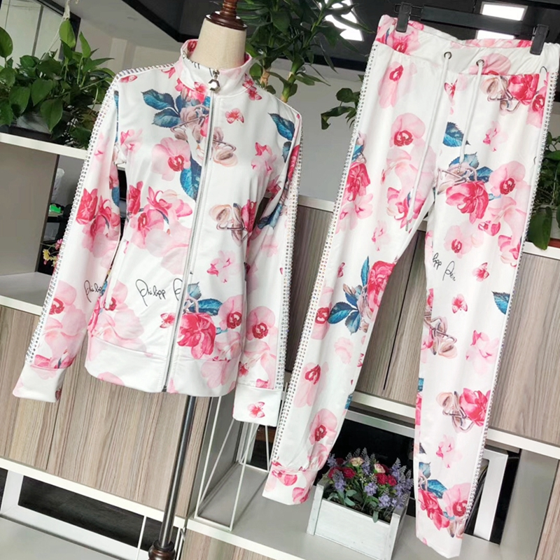 2019 fall new style women s print casual stand collar slim suit